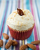 An almond cupcake with caramelised almonds and amaretto butter cream