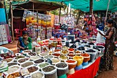 A spice stall at the Wednesday Flea Market in Anjuna, Goa, India