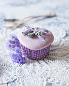 A lavender cupcake