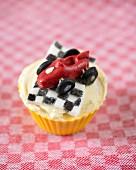 A racing car cupcake