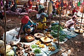 Vegetable stalls at a weekly market in Guneipada, Koraput district, Orissa, India