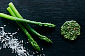 Blanched asparagus with coriander pesto and grated Parmesan