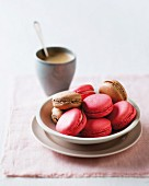 Red and brown macaroons