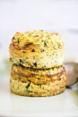 A stack of cauliflower and courgette cakes