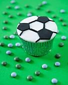 A football cupcake