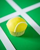 A tennis ball cupcake