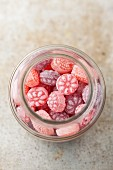 A jar of berry bonbons