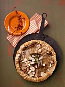 Kohlrabi tart with flaked almonds