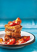French toast with chocolate spread and nectarines