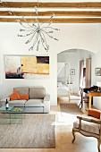 The modern living room in the Finca Raims, Majorca