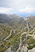 Serpentine roads winding through the Tramuntana Mountains, Majorca