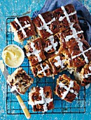 Hot cross buns with chocolate and raisins for Easter