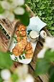 Salmon fritters with a caper and apple sauce for a picnic