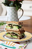 A summer sandwich with vegetables, mushrooms and cheese