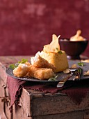 Turnip flan with crispy cod and potato crisps