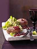 Mashed Brussels sprouts with profiteroles and lingonberries