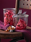 Red and white cabbage salad with beetroot, cranberries and grapefruit
