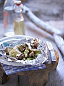 Grilled Camembert with pears and mushrooms