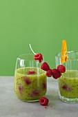 Kiwi and raspberry drinks