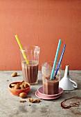 Chocolate milkshakes with almonds
