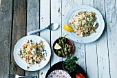 Greek noodle salad with sheep's cheese