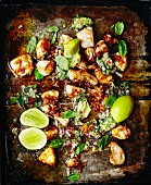 Chicken with lime and basil (seen from above)