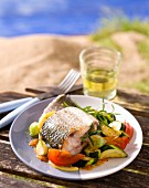 Grey mullet on Mediterranean vegetables