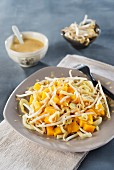 Mango salad with fennel, beans sprouts and a yoghurt sauce