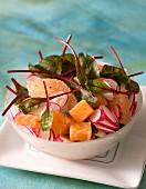 Salmon salad wwith grapefruit and radishes