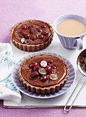 Chocolate custard and grape tarts