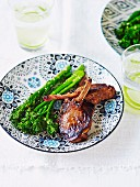 Honey soy lamb cutlets with broccoli