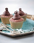 Chocolate dream cupcakes decorated with chocolate stars