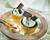 Chocolate espresso cupcakes with peppermint cream