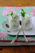 Basil ice cream with fresh mint