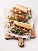 Steak sandwiches with onions