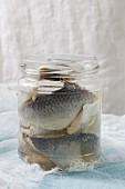 An open jar of pickled herring fillets
