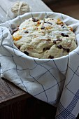 Unbaked yeast cake with dried fruits