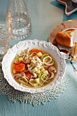 Noodle soup with chicken and vegetables