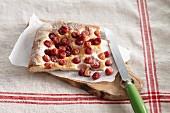 Schiacciata (Italian unleavened bread) with cherries