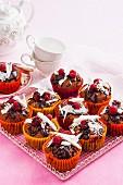Double choc raspberry muffins