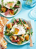 Silverside hash with potato herb salad