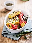 Grilled peppers filled with polenta