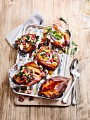 Stuffed, grilled sweet potatoes