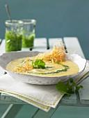 Potato soup with pesto