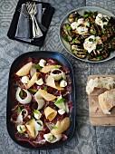 Capocollo (sardische Wurst) mit Melone und gegrillte Aubergine mit Burrata-Käse