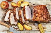Crispy pork belly with baked apples