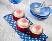 White chocolate cupcakes with sugar sprinkles