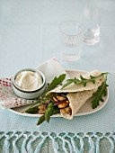 Chicken and asparagus wrap with rocket