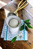 Vanilla ice cream with bay leaves