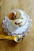 Vanilla ice cream with rum-soaked raisins